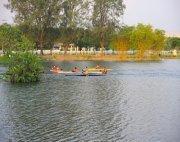 canoeing in recreational lake in malaysia