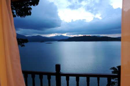 cooling view of lake kenyir after sunset