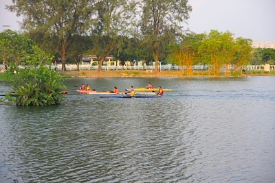 canoeing in recreational lake in malaysia