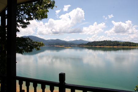 view of lake kenyir from chalet at resort
