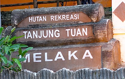 entrance to the tanjung tuan forest reserve, melaka