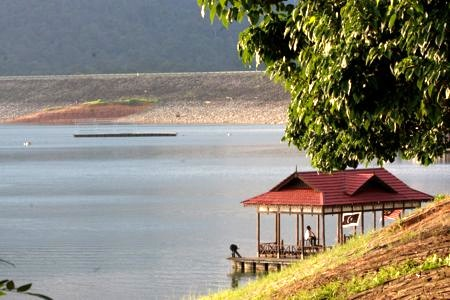 small jetty at lake kenyir, malaysia