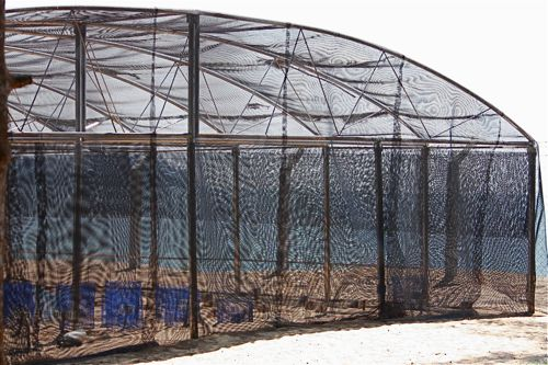 photo of the fenced-up hatchery for sea turtles in malaysia